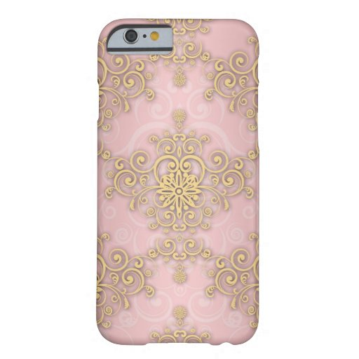 Girly Pink And Gold Damask Pattern iPhone 6 Case