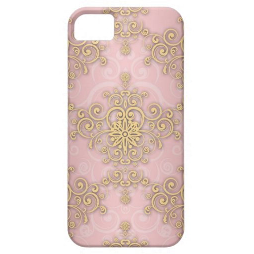 Girly Pink And Gold Damask Pattern iPhone 5 Covers