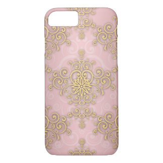 Girly Pink And Gold Damask Pattern iPhone 7 Case