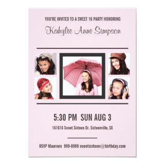 Girly Pink and Gray Photo Sweet 16 Custom Invitations