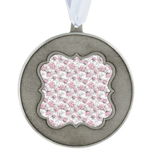 Girly Pink and Gray Vintage Floral Pattern