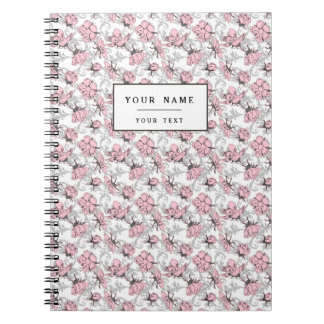 Girly Pink and Gray Vintage Floral Pattern Spiral Note Book