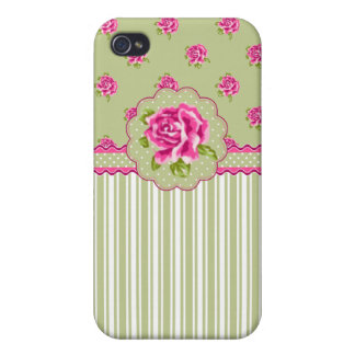 Girly Pink and Green Floral iPhone 4/4S Cases