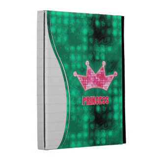 Girly Pink and Green Glitter Princess and Tiara iPad Folio Cases