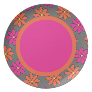 Girly Pink and Orange Flowers Party Plates