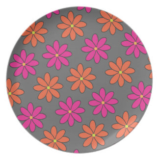 Girly Pink and Orange Flowers Dinner Plates