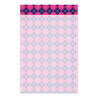 Girly Pink and Purple Argyle Diamond Pattern Stationery Paper