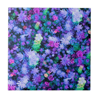 Girly Pink and Purple Floral Succulents Small Square Tile