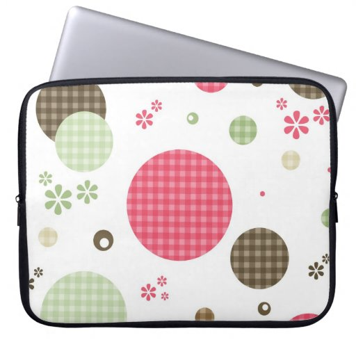 Girly Pink And Sage Green Circle Abstract Laptop Sleeve