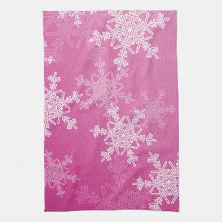 Girly pink and white Christmas snowflakes Tea Towel