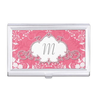Girly Pink and White Cute Victorian Style Business Card Holder