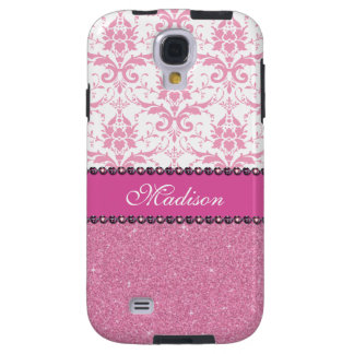 Girly pink and white Damask, pink glitter Name Galaxy S4 Case