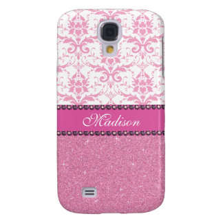 Girly pink and white Damask, pink glitter Name Galaxy S4 Cover