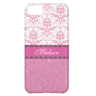 Girly pink and white Damask, pink glitter Name iPhone 5C Case