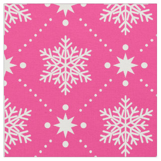 Girly Pink and White Snowflakes Christmas Pattern Fabric