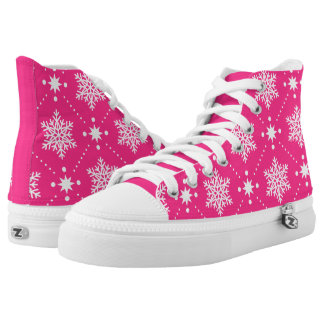 Girly Pink and White Snowflakes Christmas Pattern High Tops