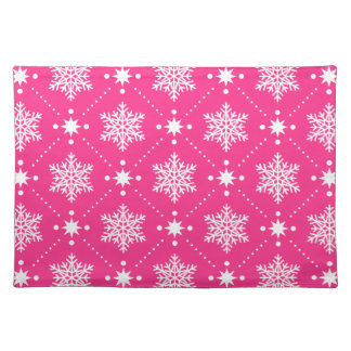 Girly Pink and White Snowflakes Christmas Pattern Placemat