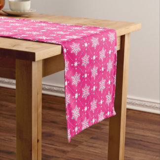 Girly Pink and White Snowflakes Christmas Pattern Short Table Runner