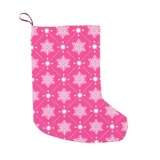 Girly Pink and White Snowflakes Christmas Pattern Small Christmas Stocking