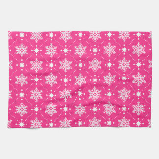 Girly Pink and White Snowflakes Christmas Pattern Tea Towel