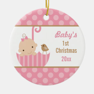 Girly Pink Babys 1st Christmas Ornament