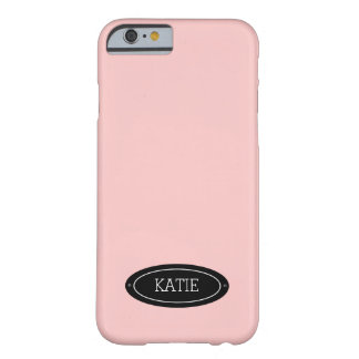 Girly Pink Badge Custom Name Plate, Personalized Barely There iPhone 6 Case