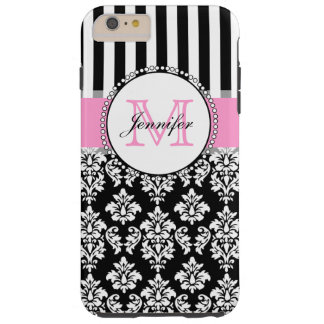 Girly Pink Black Damask Striped Monogrammed Tough iPhone 6 Plus Case