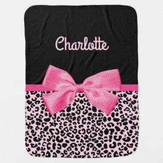 Girly Pink Black Leopard Print Cute Bow Baby Name Pram blankets
