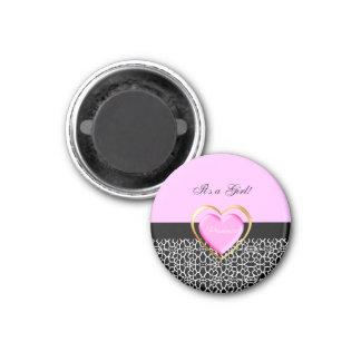 Girly Pink Black Princess Giraffe Print and Name 3 Cm Round Magnet