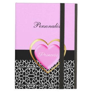Girly Pink Black Princess Giraffe Print and Name iPad Air Cases