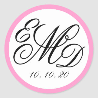 Girly Pink, Black Three Initials Monogram Wedding Round Sticker