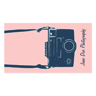Girly Pink & Blue Antique Film Camera Photography Pack Of Standard Business Cards