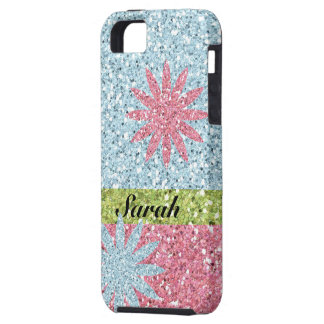 Girly Pink Blue Flower Sparkles iPhone 5 Covers