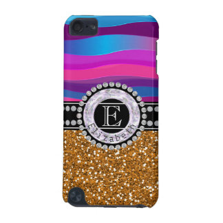 Girly Pink Blue, Gold Glitter, Diamonds, Monogram iPod Touch 5G Cover