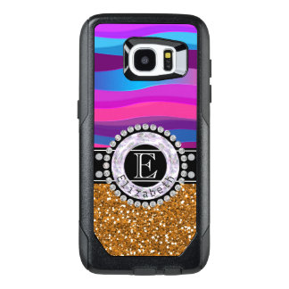 Girly Pink Blue, Gold Glitter, Diamonds, Monogram OtterBox Samsung Galaxy S7 Edge Case
