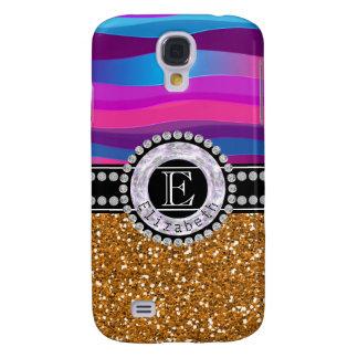 Girly Pink Blue, Gold Glitter, Diamonds, Monogram Samsung Galaxy S4 Case