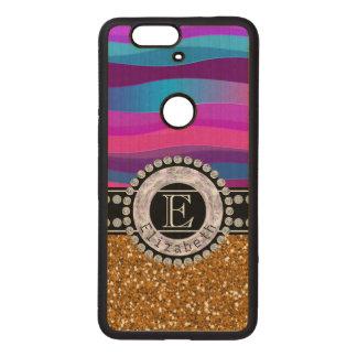 Girly Pink Blue, Gold Glitter, Diamonds, Monogram Wood Nexus 6P Case