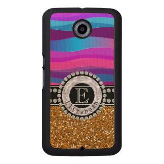 Girly Pink Blue, Gold Glitter, Diamonds, Monogram Wood Phone Case