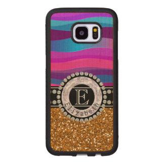 Girly Pink Blue, Gold Glitter, Diamonds, Monogram Wood Samsung Galaxy S7 Edge Case
