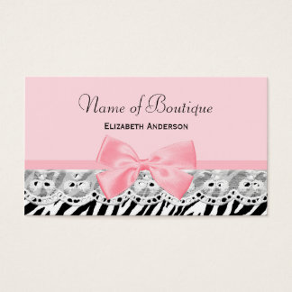 Girly Pink Bows and Lace Zebra Print Boutique