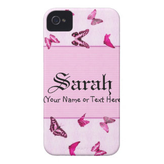 Girly Pink Butterflies iPhone 4 Case-Mate Cases