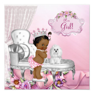 Girly Pink Chair Ethnic Princess Baby Shower 13 Cm X 13 Cm Square Invitation Card