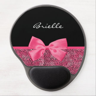 Girly Pink Cheetah Print With Cute Bow and Name Gel Mouse Mat