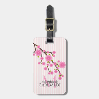 Girly Pink Cherry Blossom Personalized Luggage Tag