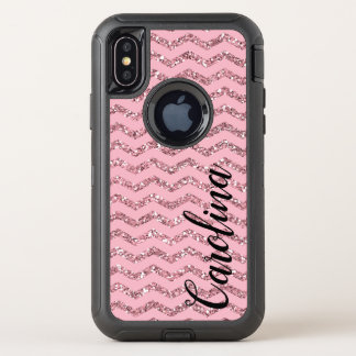 Girly Pink Chevron Glitter, Personalised with Name Case