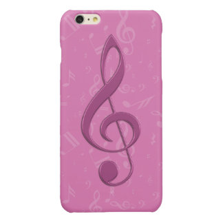 Girly Pink Clef and Musical Notes Glossy iPhone 6 Plus Case