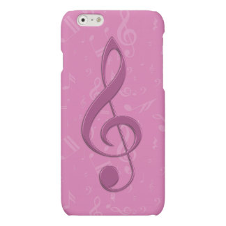 Girly Pink Clef and Musical Notes Matte iPhone 6 Case