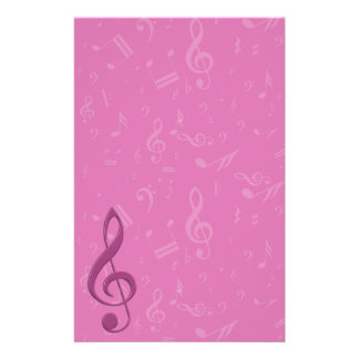Girly Pink Clef and Musical Notes Personalised Stationery
