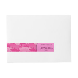 Girly pink color style camouflage pattern wraparound address label
