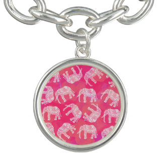 girly pink colorful tribal floral elephant pattern